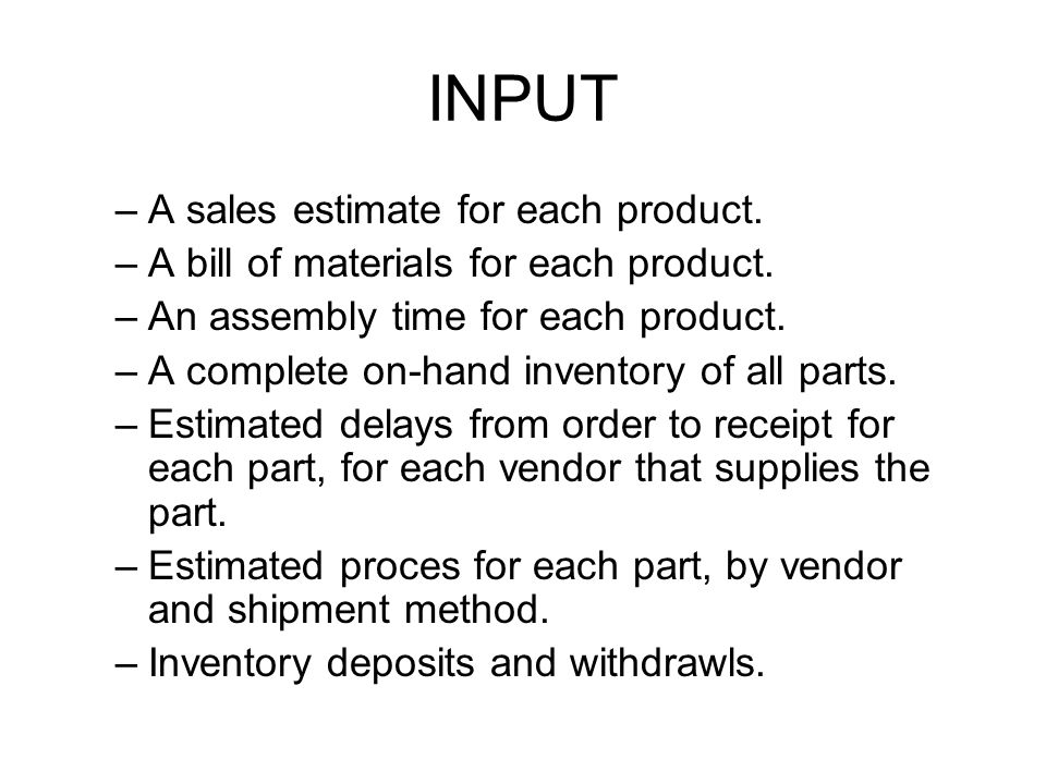 INPUT A sales estimate for each product.
