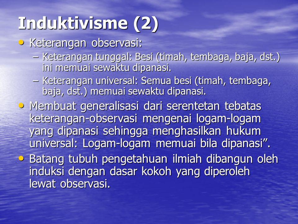 Induktivisme (2) Keterangan observasi: