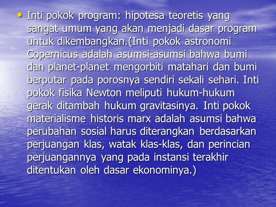 Inti pokok program: hipotesa teoretis yang sangat umum yang akan menjadi dasar program untuk dikembangkan.(Inti pokok astronomi Copernicus adalah asumsi-asumsi bahwa bumi dan planet-planet mengorbiti matahari dan bumi berputar pada porosnya sendiri sekali sehari.
