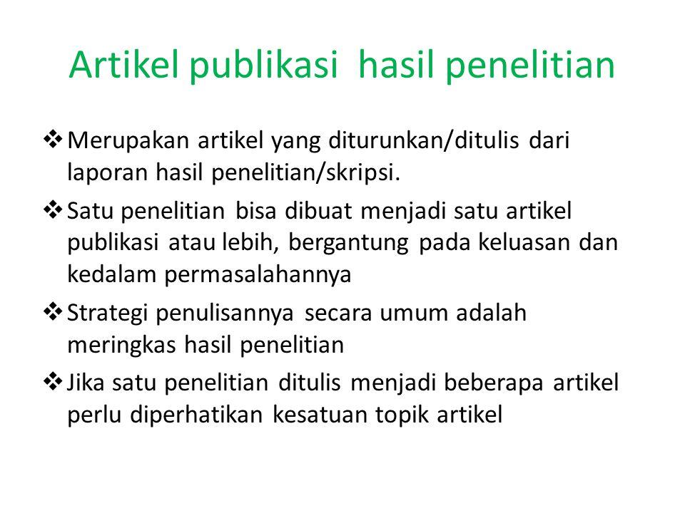 Artikel publikasi hasil penelitian
