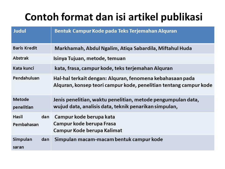 Contoh format dan isi artikel publikasi