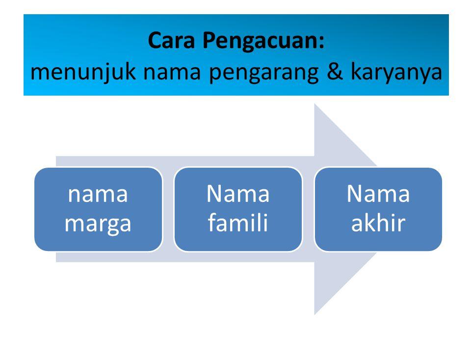 Cara Pengacuan: menunjuk nama pengarang & karyanya
