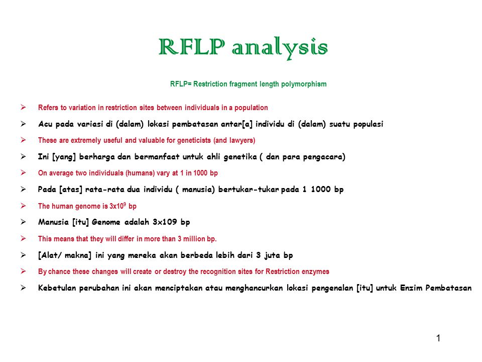 RFLP= Restriction fragment length polymorphism