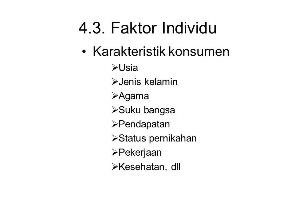 4.3. Faktor Individu Karakteristik konsumen Usia Jenis kelamin Agama