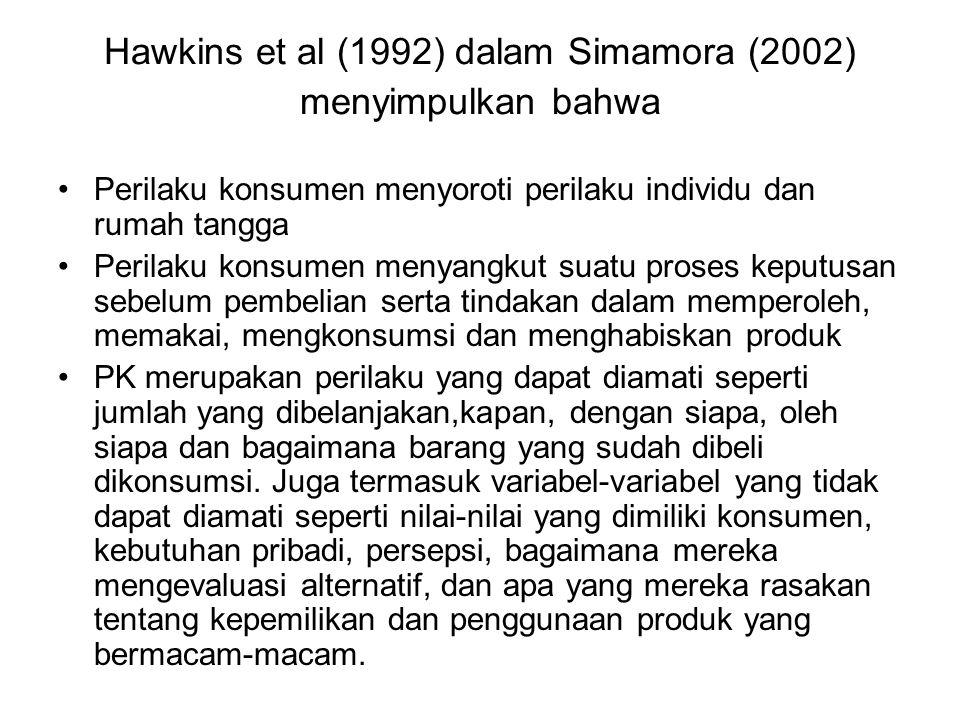 Hawkins et al (1992) dalam Simamora (2002) menyimpulkan bahwa