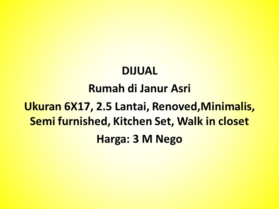 DIJUAL Rumah di Janur Asri. Ukuran 6X17, 2.5 Lantai, Renoved,Minimalis, Semi furnished, Kitchen Set, Walk in closet.