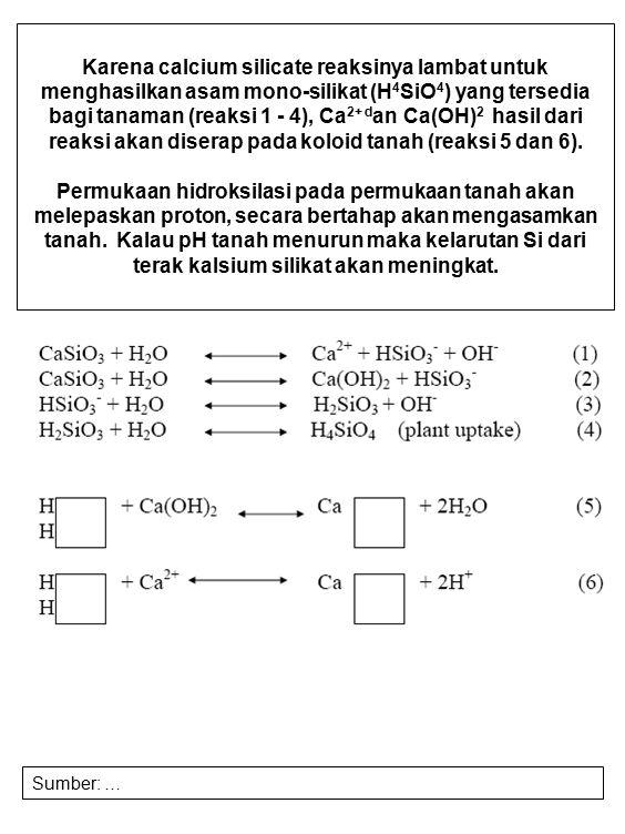 Karena calcium silicate reaksinya lambat untuk menghasilkan asam mono-silikat (H4SiO4) yang tersedia bagi tanaman (reaksi 1 - 4), Ca2+ dan Ca(OH)2 hasil dari reaksi akan diserap pada koloid tanah (reaksi 5 dan 6).