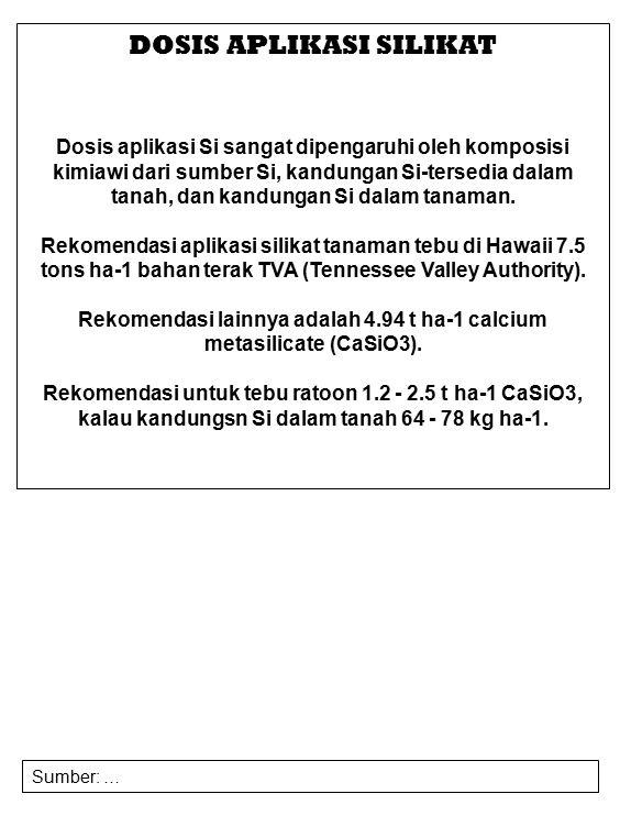 Rekomendasi lainnya adalah 4.94 t ha-1 calcium metasilicate (CaSiO3).