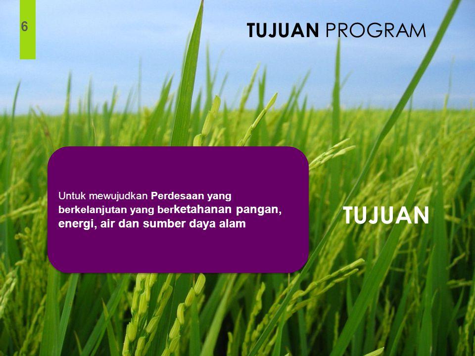 TUJUAN PROGRAM 6. Untuk mewujudkan Perdesaan yang berkelanjutan yang berketahanan pangan, energi, air dan sumber daya alam.