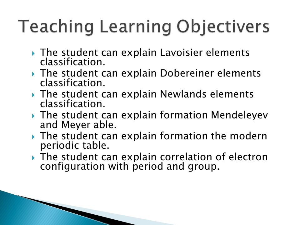 Teaching Learning Objectivers