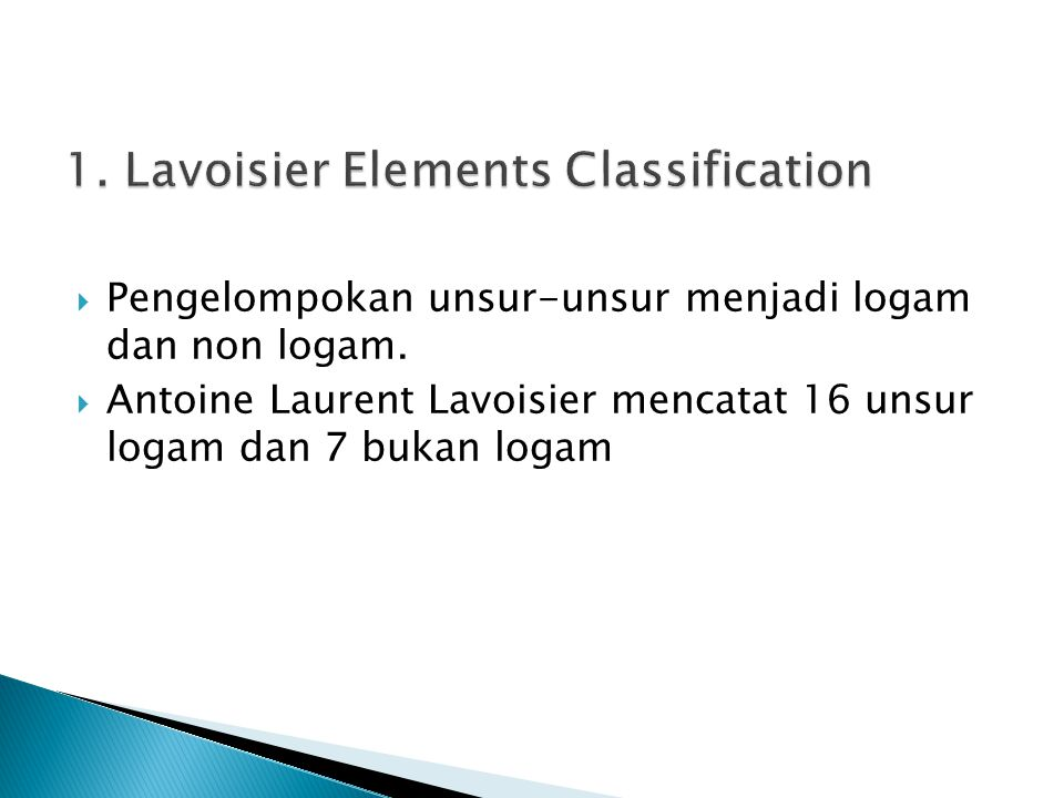 1. Lavoisier Elements Classification