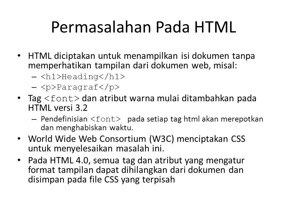 Permasalahan Pada HTML