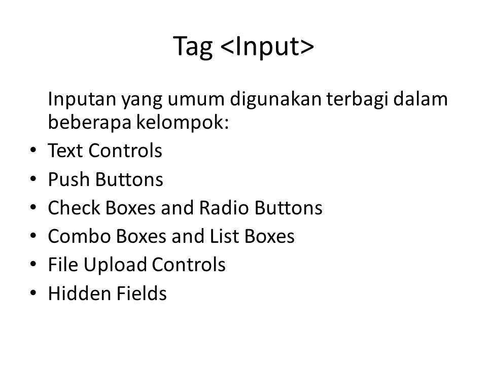 Tag <Input> Inputan yang umum digunakan terbagi dalam beberapa kelompok: Text Controls. Push Buttons.