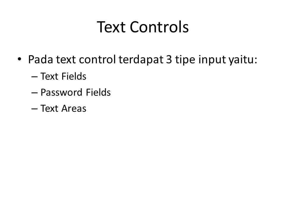 Text Controls Pada text control terdapat 3 tipe input yaitu: