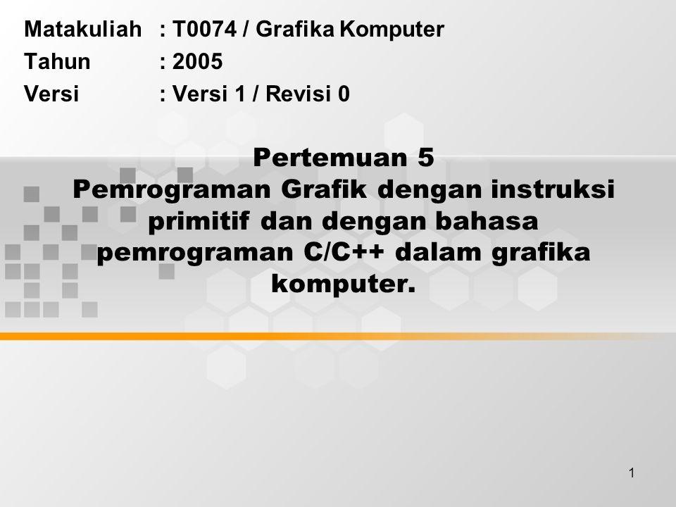 Matakuliah : T0074 / Grafika Komputer