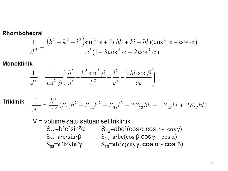 V = volume satu satuan sel triklinik