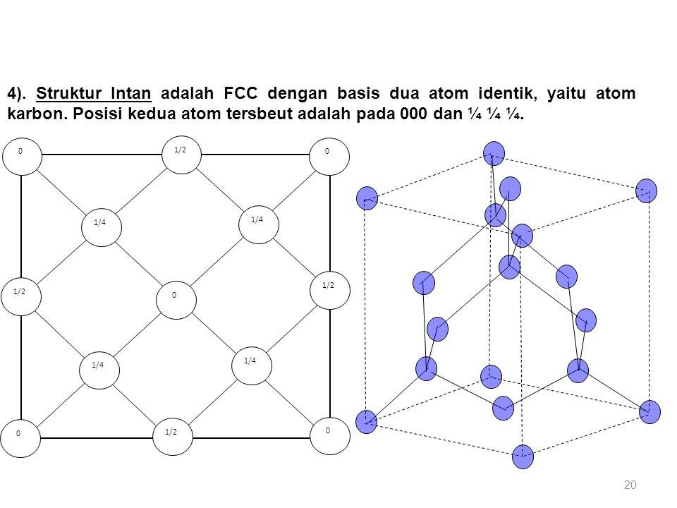 4). Struktur Intan adalah FCC dengan basis dua atom identik, yaitu atom karbon. Posisi kedua atom tersbeut adalah pada 000 dan ¼ ¼ ¼.