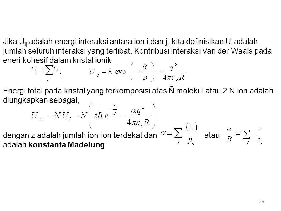 Jika Uij adalah energi interaksi antara ion i dan j, kita definisikan Ui adalah jumlah seluruh interaksi yang terlibat. Kontribusi interaksi Van der Waals pada eneri kohesif dalam kristal ionik