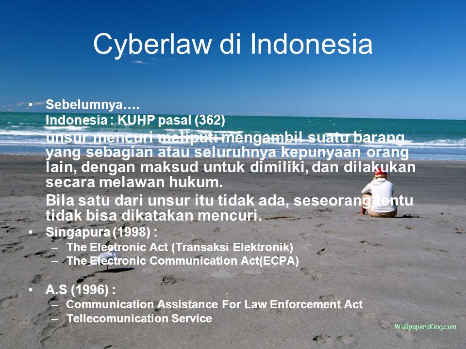 Cyberlaw di Indonesia Sebelumnya…. Indonesia : KUHP pasal (362)