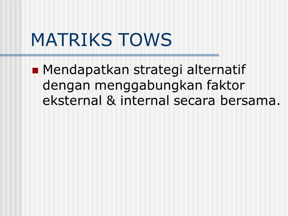 MATRIKS TOWS Mendapatkan strategi alternatif dengan menggabungkan faktor eksternal & internal secara bersama.