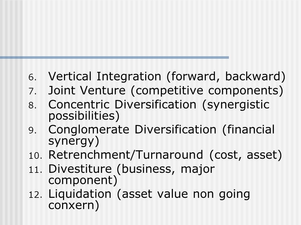 Vertical Integration (forward, backward)