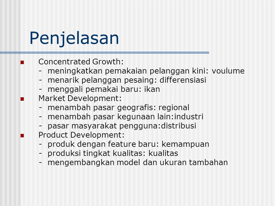 Penjelasan Concentrated Growth: