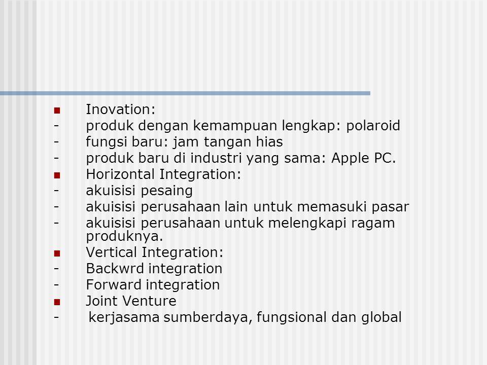 Inovation: - produk dengan kemampuan lengkap: polaroid. - fungsi baru: jam tangan hias. - produk baru di industri yang sama: Apple PC.