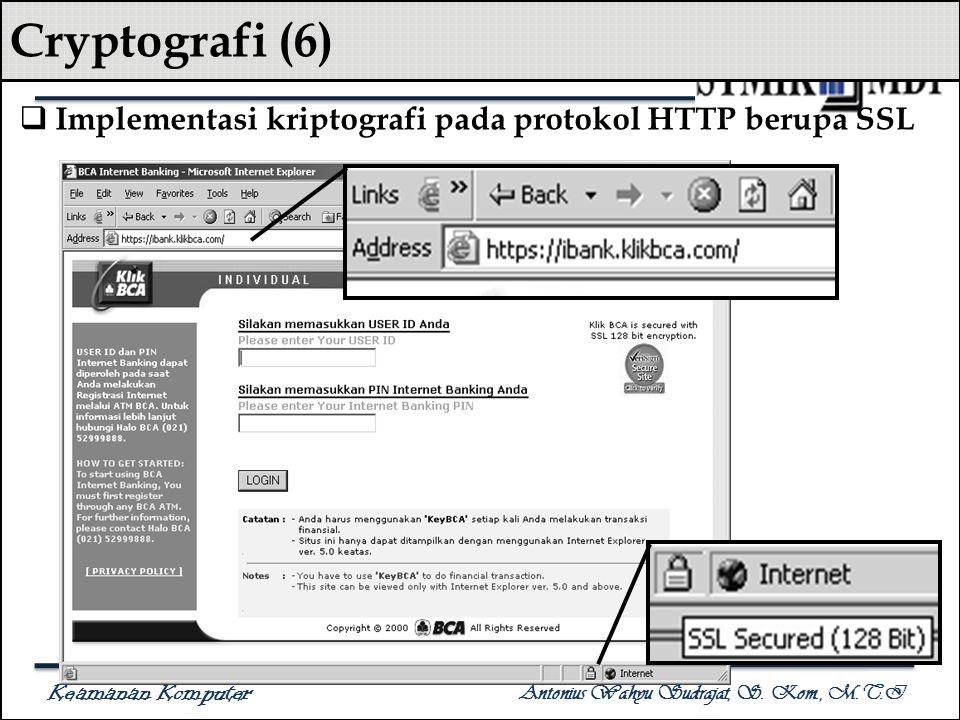 Cryptografi (6) Implementasi kriptografi pada protokol HTTP berupa SSL