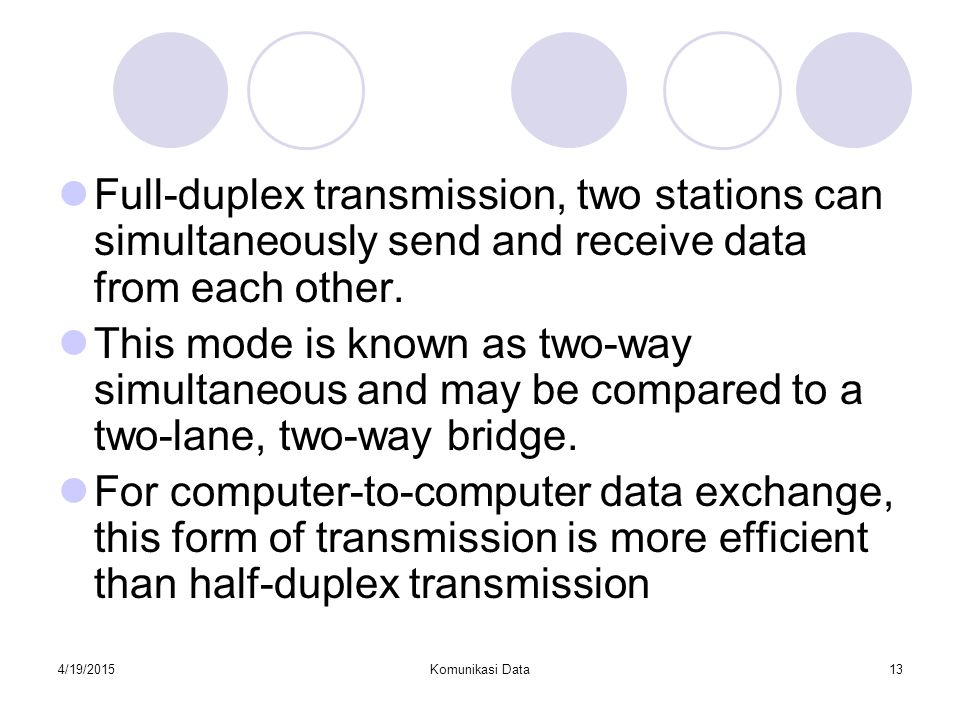 Full-duplex transmission, two stations can simultaneously send and receive data from each other.