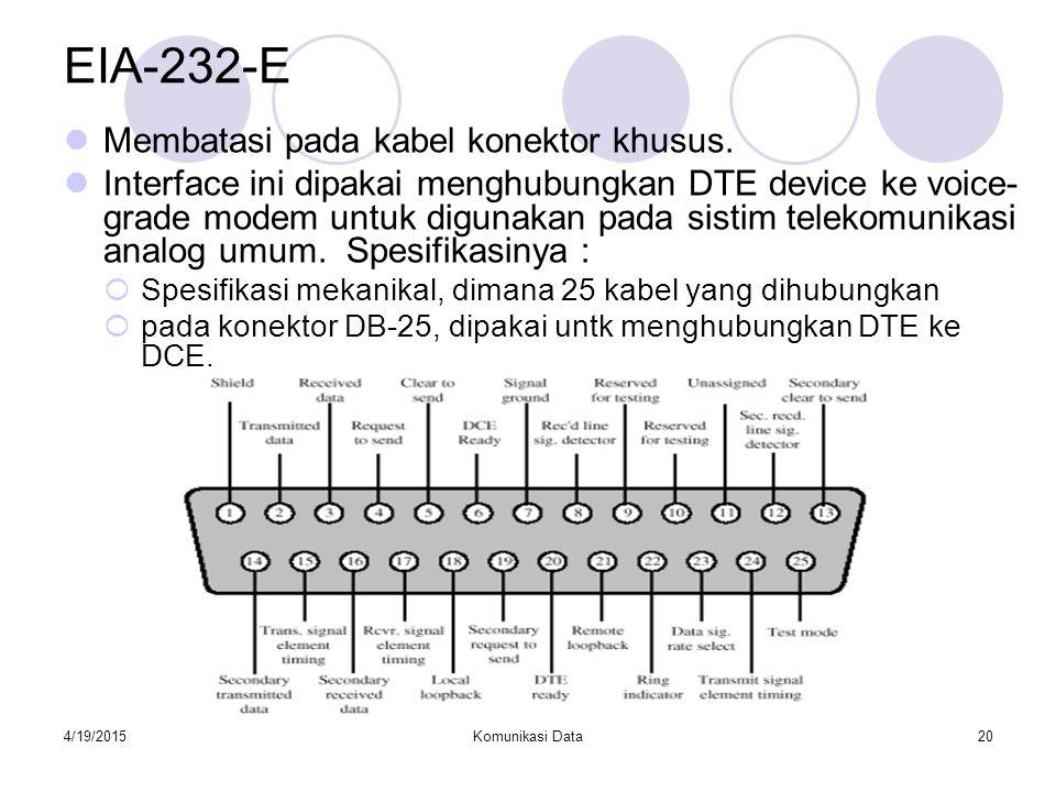 EIA-232-E Membatasi pada kabel konektor khusus.