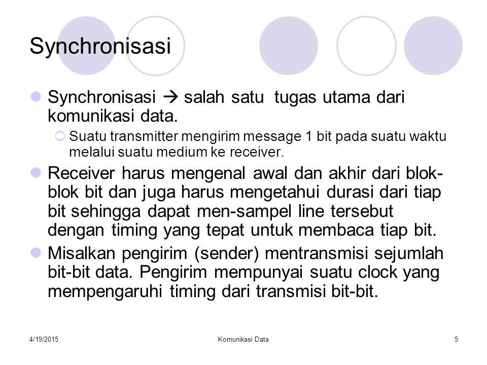 Synchronisasi Synchronisasi  salah satu tugas utama dari komunikasi data.