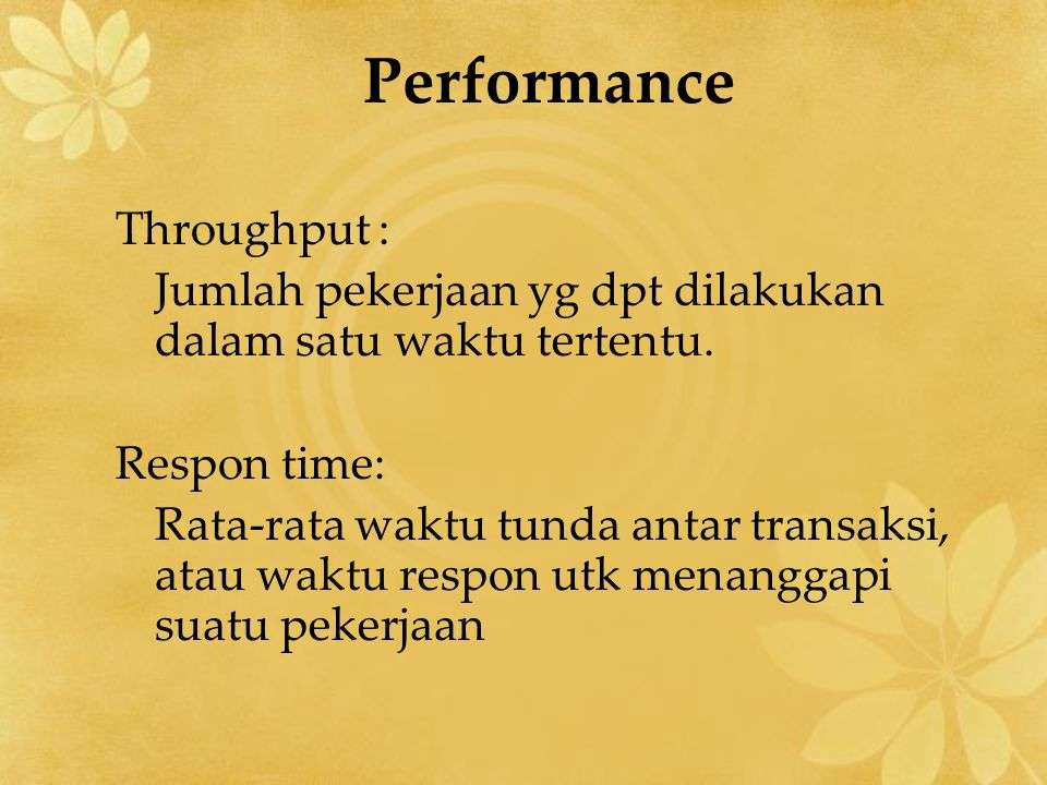 Performance Throughput :