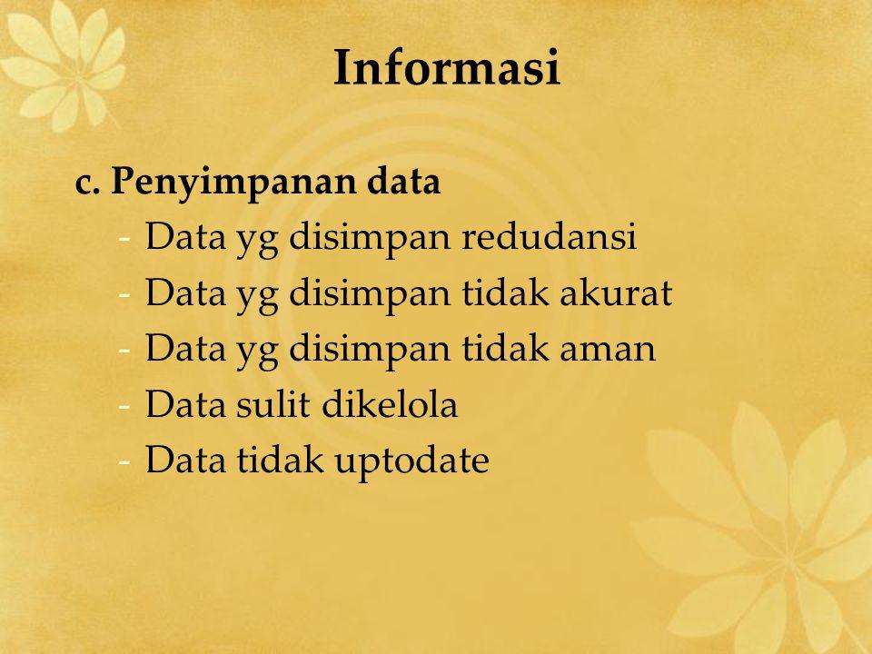 Informasi c. Penyimpanan data Data yg disimpan redudansi