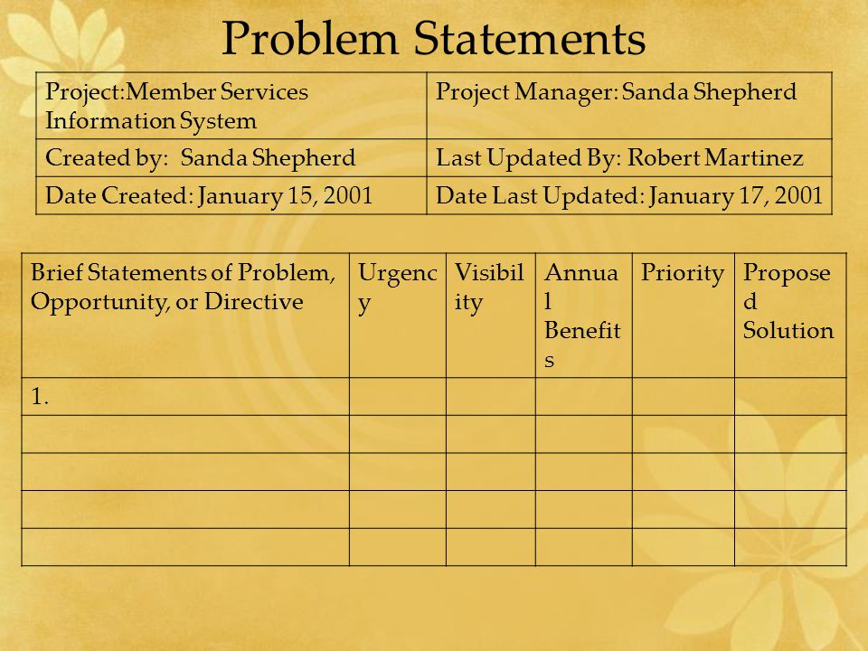 Problem Statements Project:Member Services Information System