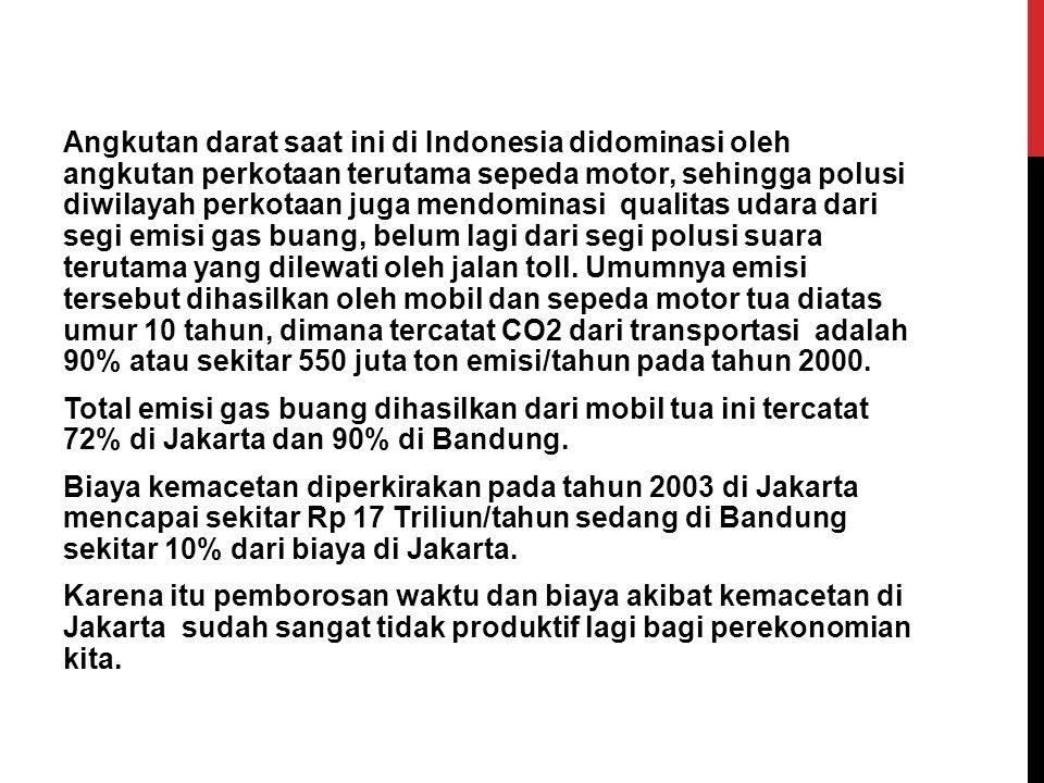 Angkutan darat saat ini di Indonesia didominasi oleh angkutan perkotaan terutama sepeda motor, sehingga polusi diwilayah perkotaan juga mendominasi qualitas udara dari segi emisi gas buang, belum lagi dari segi polusi suara terutama yang dilewati oleh jalan toll.