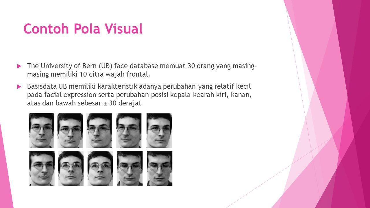 Contoh Pola Visual The University of Bern (UB) face database memuat 30 orang yang masing- masing memiliki 10 citra wajah frontal.