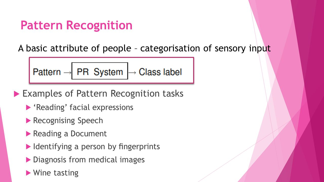 Pattern Recognition A basic attribute of people – categorisation of sensory input. Examples of Pattern Recognition tasks.