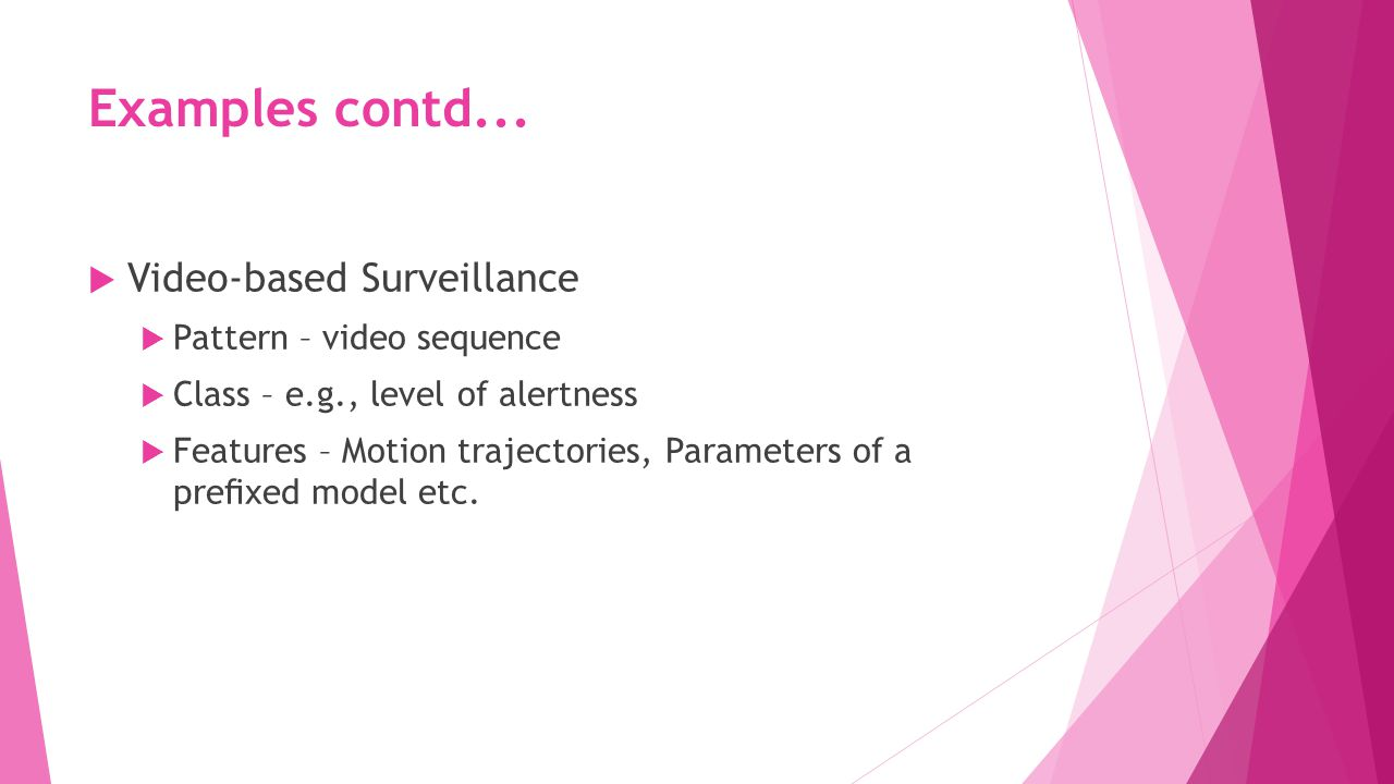 Examples contd... Video-based Surveillance Pattern – video sequence