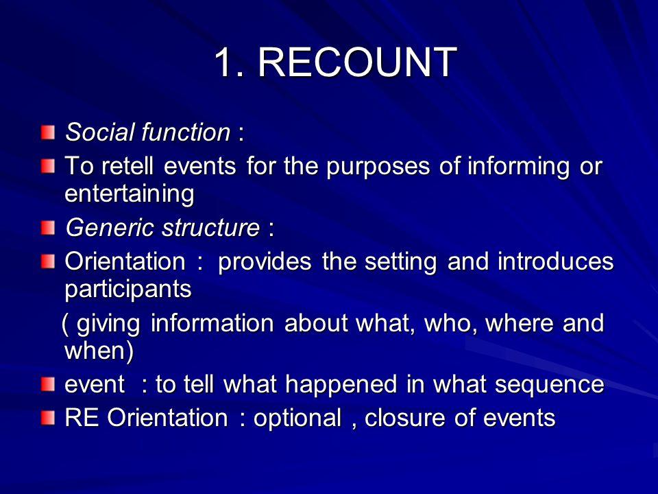 1. RECOUNT Social function :
