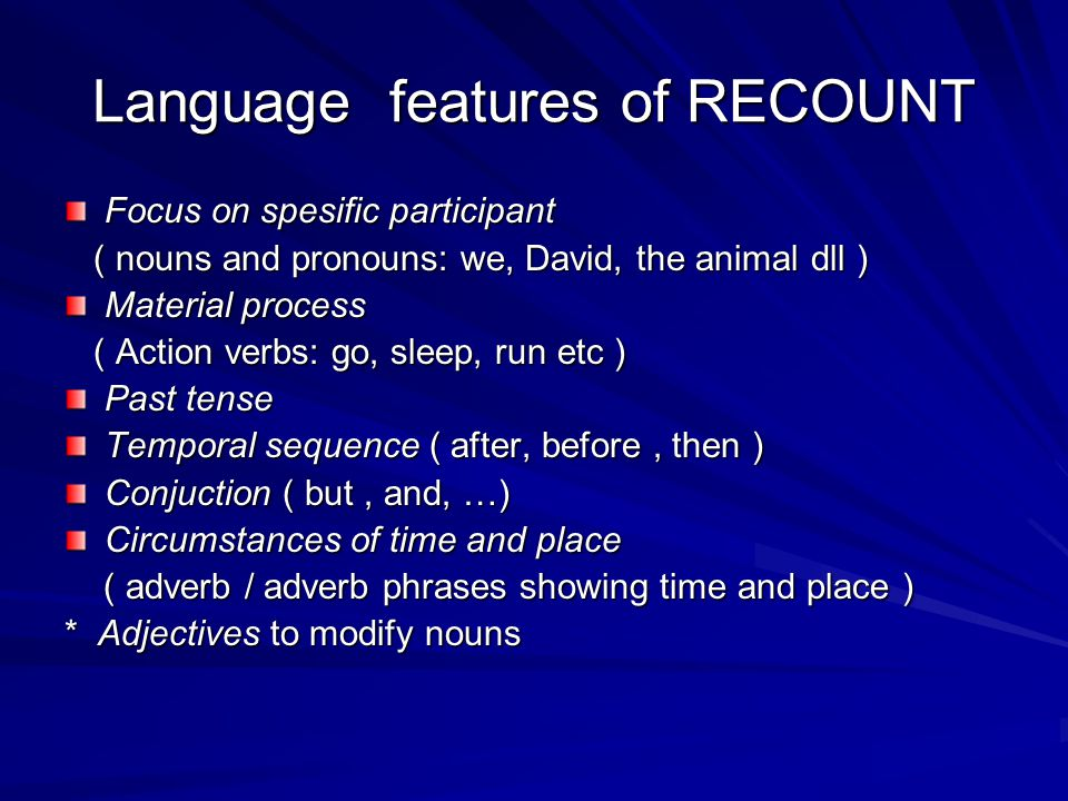 Language features of RECOUNT