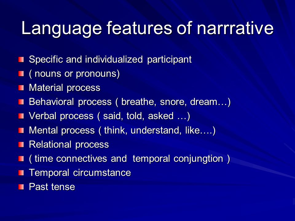 Language features of narrrative