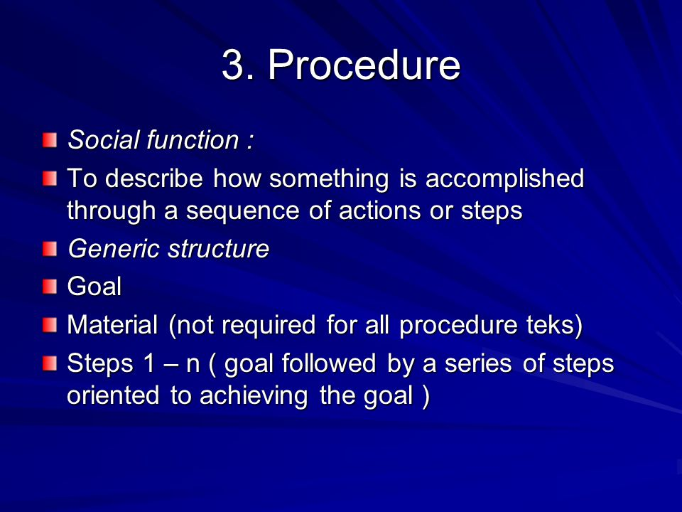 3. Procedure Social function :