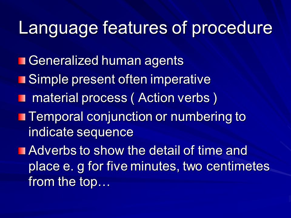 Language features of procedure