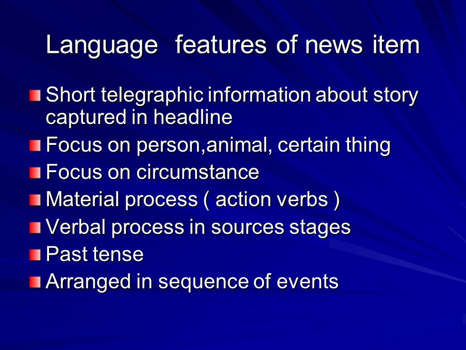 Language features of news item