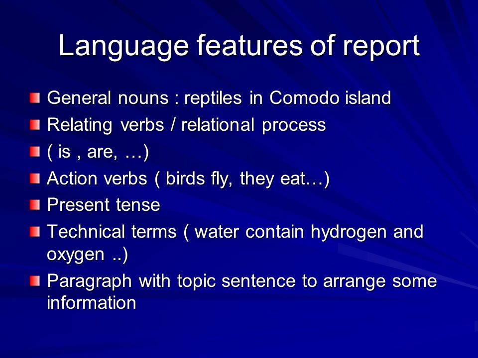 Language features of report