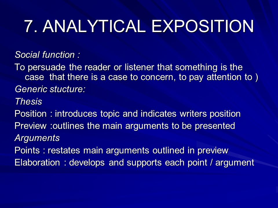 7. ANALYTICAL EXPOSITION