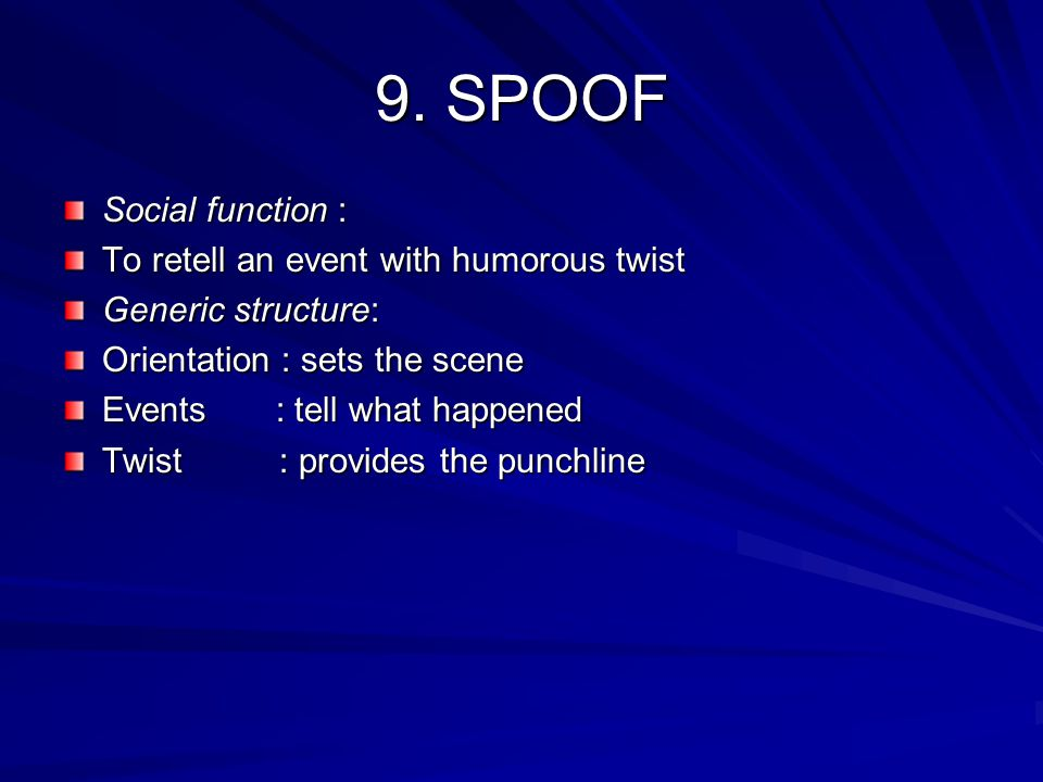 9. SPOOF Social function : To retell an event with humorous twist