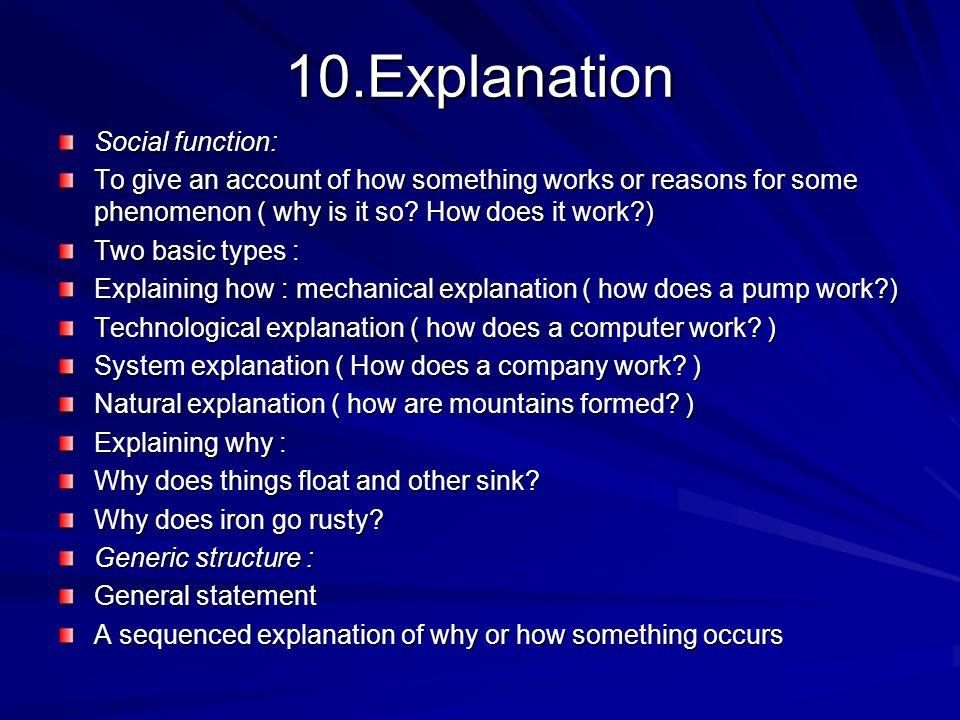 10.Explanation Social function: