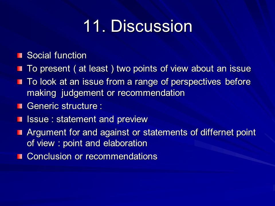 11. Discussion Social function