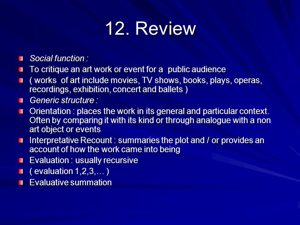 12. Review Social function :